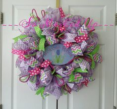 Check out this item in my Etsy shop https://www.etsy.com/listing/222996242/welcome-spring-deco-mesh-wreath-in