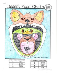 Math Fact Color by Numbers ($3) 15 different habitat and food chain themed pages to practice math facts in a fun way (version available for addition/subtraction as well as multiplication/division)