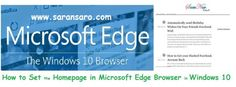 How to Set the Homepage in Microsoft Edge Browser in Windows 10