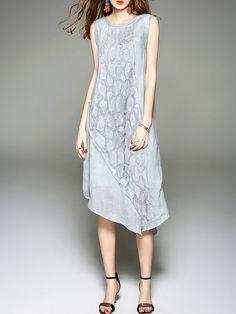 Shop Midi Dresses - Asymmetric Graphic Cotton Casual Sleeveless Midi Dress…