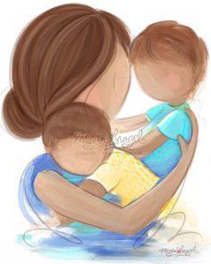 Mother Brunette, Children Brunette - Family Wall Art Print