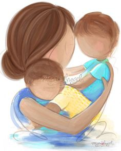 Mother Brunette Children Brunette  Family by MeganHagelCreative, $20.00