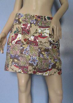 Patchwork Skirt.  Colorful Boho Patchwork Skirt. Biege Skirt.