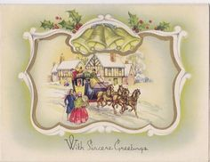 Pretty Vintage Christmas Greetings Card - Horse And Carriage - Crinoline Lady