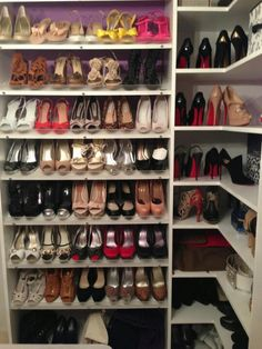 A woman's shoe collection.