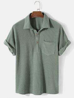 I found this amazing Mens Solid Color Waffle Casual Lapel Short Sleeve Henley Shirt with £21.99,and 14 days return or refund guarantee protect to us. --Newchic Henley Shirts, Mens Clothing Styles, Clothes For Sale, Chic Outfits, Preppy, Men Casual, Mens Tops, Man Fashion, Latest Fashion