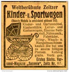 Original-Werbung/Inserat/ Anzeige 1906 - SAXONIA/ZEITZER KINDER-UND SPORTWAGEN  - ca. 45 x 45 mm