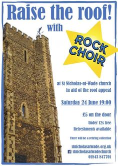 """Raise the Roof"" concert with Rock Choir at St Nicholas-at-Wade church, 24 June 2017 - poster"