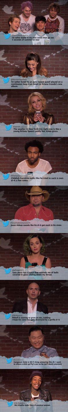 Celebrities Read Mean Tweets I LOVE how 5SOS is just laughing. Awww my babies