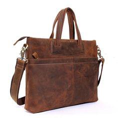 Vintage Handmade Top Grain Leather Mens Handbag Laptop Briefcase Messenger Shoulder Bag