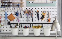 Craft Room Organizational Pegboard This is one of my most favorite projects--and I love how pretty and colorful it is too! This pegboard is 6 feet. Sewing Room Organization, Craft Room Storage, Craft Rooms, Organization Ideas, Garage Storage, Storage Ideas, Fintorp Ikea, Large Pegboard, Kitchen Pegboard