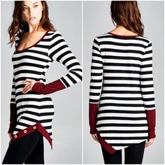 Restock black/white striped tops Long sleeve black/white striped tops with burgundy accent hem and button details. Please do not purchase this listing. Comment with size and I will create a new listing for you. Small (2/4) Medium (6/8) Large (10/12). Price is firm unless bundled. Tops