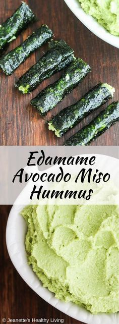 Edamame Miso Avocado Hummus - this healthy dip is packed with protein. Just five ingredients. Serve with veggies or wrap in nori for a quick snack. ~ http://jeanetteshealthyliving.com