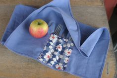 Cloth Napkin Silverware Wraps  set of 4  Blue with by ThriftatHome, $26.00