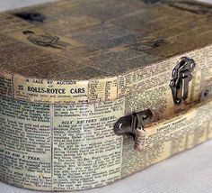 Decoupage a papier mâché box or suitcase. I have one like this that could really use book pages! Vintage Suitcases, Vintage Luggage, Book Crafts, Arts And Crafts, Paper Crafts, Kid Crafts, Fall Crafts, Altered Boxes, Altered Art