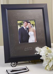 The most exciting trend for wedding guestbook alternatives! These high quality signature frames are made from a beautiful, highly polished silver alloy. When signed with the included, easy to use, non-mechanical Signature Engraving Scribe signatures will last forever and become a treasured conversation piece complimenting any home decor.