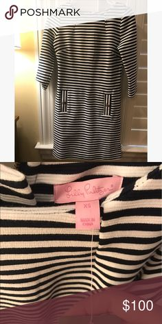 Lilly Pulitzer Striped Dress Super cute and comfy *NEVER BEEN WORN* Lilly dress is perfect for dates, work, and the in betweens! Lilly Pulitzer Dresses Midi