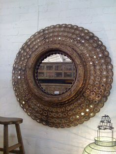 I've been in love with Indian peacock mirrors for a while now. I think the first time I spotted one was at a store called Blue Moon on La . Peacock Mirror, Mirror Mirror, Mirrors, Indian Peacock, Global Home, Home Decor Styles, Plant Decor, E Design, Oriental