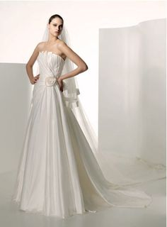 Online Sale Fantastic Flat Ruffle Flower Simple Satin Pricess Court Train Wedding Gown