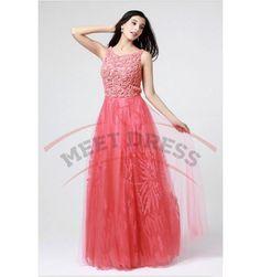 Long Prom Dresses New Design Sexy Bateau Sleeveless A-Line Prom Dresses