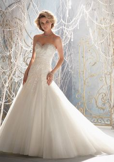 1964 Delicate Alencon Lace Appliques on Net Edged with Crystal Beading
