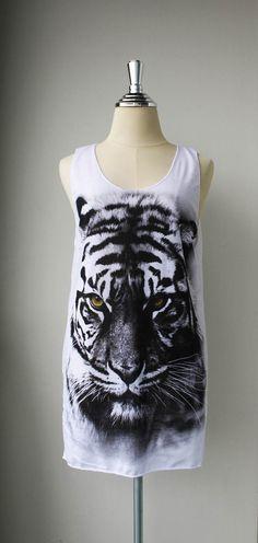 The Yellow Eye Siberian Tiger White Mini Dress Tunic by Tshirt99, $15.99