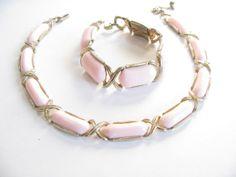 Vintage Pink Thermoset Necklace & Bracelet - Crown Trifari - Gold Tone