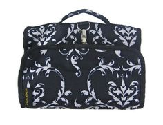Damask Hanging Travel Cosmetic Case w/ Black Trim by World Traveler >>> Discover this special outdoor gear, click the image : Travel toiletries Travel Toiletries, A Hook, Cosmetic Case, Folded Up, World Traveler, Black Trim, Damask, Outdoor Gear, Bag Accessories
