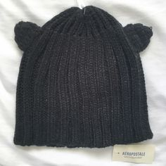 NWT✨ AEROPOSTALE BEANIE Super cute beanie with cat ears from the Bethany Mota collection at Aeropostale                              NO TRADES BUNDLE DISCOUNTS, 15% off 2 or more items FAST SHIPPER Aeropostale Accessories Hats