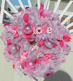 Valentine Deco Mesh Wreath, Pink Silver Metallic Valentine Wreath, Valentine Decor, Pink Heart Valentines Day Wreath, Valentine Heart Wreath by WhatsOnYourDoor Diy Valentines Day Wreath, Valentines Day Decorations, Valentine Crafts, Happy Valentines Day, Valentine Ideas, Valentine Heart, Deco Mesh Wreaths, Baby Wreaths, Valentine's Day Diy