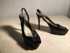 Guess Black Leather Peep Toe Sling Platform Stiletto