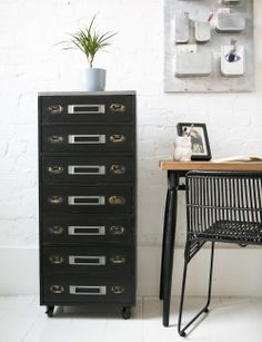 There's so much to love about the styling of these industrial-edged black metal drawers, from the drawer pull handles to the card holders so you can label the contents. They are very vintage-chic and conveniently come on castors, so can be easily wheeled around from place to place. With a generous seven drawers to fill, you'll have plenty of room for a variety of papers and regular or home office supplies - all contained in such a great looking piece of furniture.