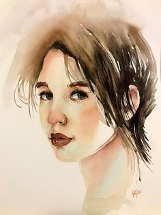 watercolour portrait by Giulia Gatti Watercolor Portraits, Watercolor Paintings, Damask Rose, Gray Eyes, Red Earrings, Watercolor And Ink, Watercolors, Gallery, Drawings
