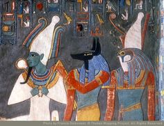 Detail of Osiris, Anubis, and Horus [with Horemheb] in KV57