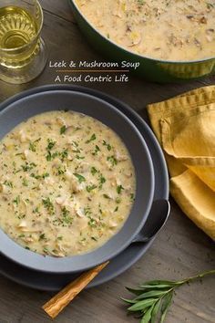 Lemony leek and mushroom soup. So good, hearty and warming, and good for you! Updated my old recipe to use coconut butter and coconut milk. For a vegan version, just use vegetable broth instead of chicken