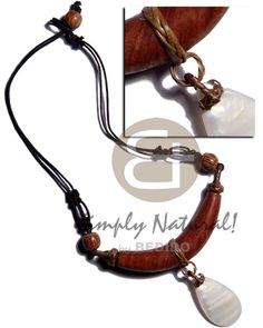 75mmx15mm Bayong Wood Pendant  Dangling Teardrop 35mmx20mm Kabibe Shell  In Double Wax Cord  Wood Beads Accent Teens Necklace