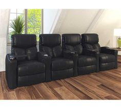 Octane Seating XS400 Bolt Theater Seating with Manual Recline and Black Bonded Leather