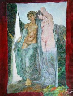 """Bernardo CRESPIN : """"Las Bailarinas del Boquerón"""" ; 1982 ; oleo sobre tela ; 99cm x 77cm ; colección MDAA (adquirido de la galería Humberto Saravia)"""