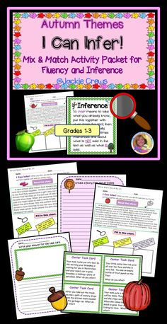This grades 1-3 resource includes 13 inference selections and two stationary pages to mix and match for early morning work, literacy centers or homework; enough for two weeks of practice. It also has four inference task cards for interactive notebooks, a display poster, core standards and ESL Insights. Reading Resources, Classroom Resources, Reading Activities, Guided Reading, Speech Language Pathology, Speech And Language, Morning Work, Early Morning, Reading Intervention