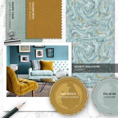 Monday Moodboard - We love the vibrancy and decadence that is created when pairing turquoise and mustard. Keep accessories neutral to allow these gorgeous shades to shine. Lounge Decor, Lounge Ideas, Beautiful Sofas, Paint Swatches, Beach House Decor, Home Decor, Mood Boards, Color Inspiration, Color Combinations