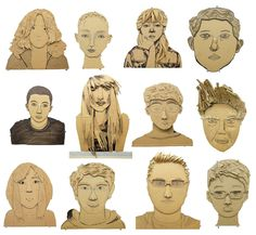 heads Cardboard Portraits by 12th Graders.