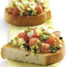 Zucchini Feta Bruschetta---this stuff is out of this world fantastic. I brush the bread with olive oil instead of butter and crisp in the oven. You can also substitute goat cheese for the feta for a milder flavor.