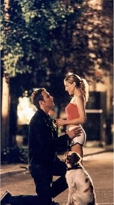 John Corbett and Sarah Jessica Parker as Aidan Shaw and Carrie Bradshaw from 'Sex and the City' - episode 'Just Say Yes' (2001)