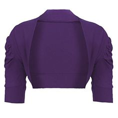 Girls Ruched Sleeve Cotton Bolero Shrug in Dark Purple Years: A lovely cropped bolero with short, gathered sleeves. Stretchy and comfortable, made from Cotton fabric. Perfect to keep out the chill and not hide your fantastic outfit. Shrug Cardigan, Cropped Cardigan, Girls Sweaters, Cotton Fabric, Stylish, Sleeves, Outfits, Clothes, Dark Purple