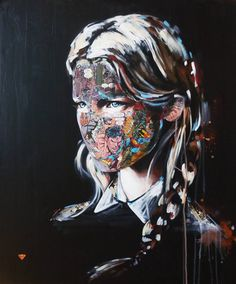 "Illusion: Canadian French artist Sandra Chevrier has continued to work on a series titled ""Le Cage"" (The Cage). She collages and paints these unusual portraits on canvases, and the use of comic book imagery over the faces definitely leaves most spectators intrigued.  [...]. http://illusion.scene360.com/art/45695/is-she-a-new-type-of-superhero/"
