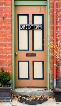 'GONE TO THERAPY' door in Pittsburgh, Pennsylvania.