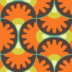 orange brown yellow turquoise fabric