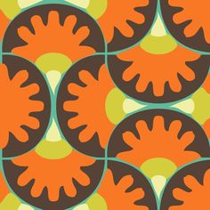 orange brown yellow turquoise fabric