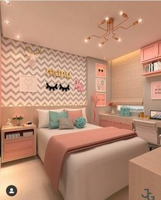 Girl bedroom designs - 168 cute teenage girl bedroom ideas 15 Hometwit com Teenage Girl Bedroom Decor, Teen Room Decor, Home Decor Bedroom, Teen Bedroom Colors, Modern Teen Bedrooms, Rooms For Teenage Girl, Girls Bedroom Decorating, Preteen Girls Rooms, Study Room Decor