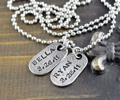 Personalized Mens Necklace, Gifts for Him, Mens Jewelry, New Dad Gift, Birthday…